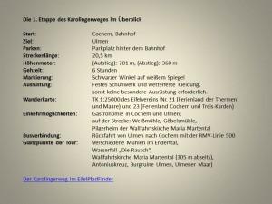 Die 1. Etappe des Karolingerweges im Überblick