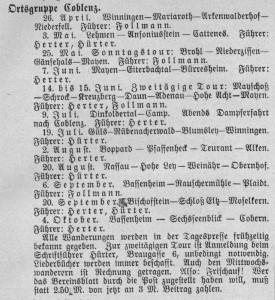 Wanderplan der Ortsgruppe Koblenz 1913