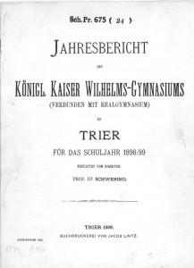 Jahresbericht des Königl. Kaiser Wilhelms-Gymansiums 1898/89