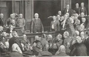 Bismarcks Rede vor dem Reichstag am 6. Februar 1888. Lithographie nach dem Gemälde von Ernst Henseler, 1901