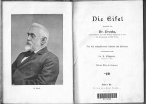 Bildnis Dronkes und Titelblatt seines Eifelbuchs von 1899
