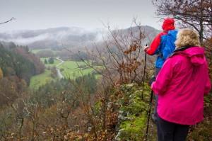 Blick ins verregnete Sahrbachtal