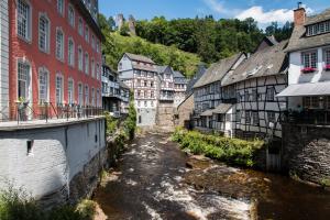 Monschau: Rotes Haus, Rur und Haller-Ruine